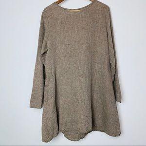 FLAX Tan Linen Long Sleeve Tunic w Side Pocket (M)